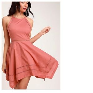 Lulu's Catch Your Eye Rusty Rose Skater Dress Med